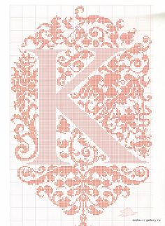 Cross stitch alphabet in 2 colors- very ornate monogram 26 single letters -- Cross Stitch Letters, Cross Stitch Love, Cross Stitch Borders, Cross Stitch Charts, Cross Stitch Designs, Cross Stitching, Stitch Patterns, Embroidery Alphabet, Diy Embroidery