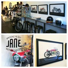 Stopped by JANE Motorcycles in Brooklyn last weekend to say hello and to check out the work of artist Francis Ooi hanging in the shop Oil&Ink Motorbike Expo