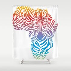 Map of Africa in rainbow zebra camouflage Shower Curtain by vladimirceresnak Bathroom Curtains, Shower Curtains, Rainbow Zebra, Africa Map, Camouflage, Hooks, Crisp, Tapestry, Colorful