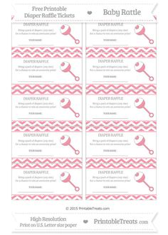 Free Pastel Pink Chevron  Baby Rattle Diaper Raffle Tickets