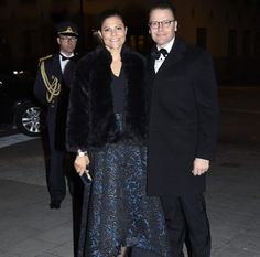 15 October 2016 - Prince Daniel and Princess Victoria attend Investor AB's centenary celebrations at the Grand Hôtel in Stockholm - skirt by Alice+Olivia, clutch by Alexander McQueen