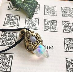Angel Aura Quartz & Rainbow Moonstone - Magic Hippie Enchanted Fairy Elf Witch Wicca Pagan Festival Boho - Polymer Clay Crystal Pendant