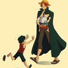 Shanks, Luffy, Ace #onepiece
