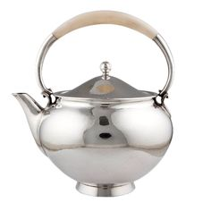 Georg Jensen sterling silver teapot with bone handle - designed by Harald Nielsen, c1950