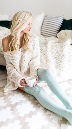 White Knit Dress & Blue Maxi Socks