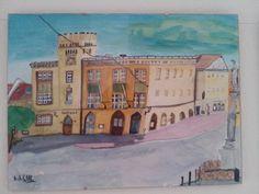 Rathaus mit Marktplatz in Moosburg a. d. Isar, in Aquarell auf 40 x 30 cm