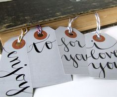 everyday gray calligraphy gift tags, package of 7 hand lettered gift wrapping hang tags by KisforCalligraphy. $8.50, via Etsy.