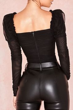 Women Black Mesh Ruched Square Neck Long Sleeve Sexy Bodysuit – S - Mode Bodysuit Tops, One Piece Bodysuit, Lace Bodysuit, Womens Bodysuit, Black Long Sleeve Bodysuit, Black Mesh Bodysuit, High Cut Bodysuit, Bodysuit Fashion, Club Outfits For Women