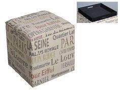 Baúl letras cuadrado de madera y tela. Aprovecha este fantástico puff con tapa de original estilo retro.
