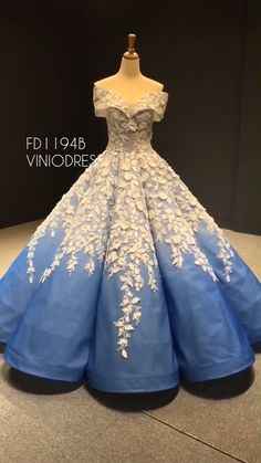 Haute couture ombre blue ball gown off the shoulder sweet 15 dresses Ombre Prom Dresses, Prom Dresses For Teens, Wedding Dresses For Girls, Quinceanera Dresses, Summer Dresses, Ombre Gown, Sweet 15 Dresses, Pretty Dresses, Beautiful Dresses