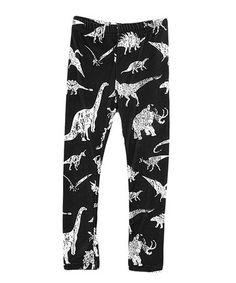 Look what I found on #zulily! Black & White Dinosaurs Leggings - Toddler & Girls #zulilyfinds