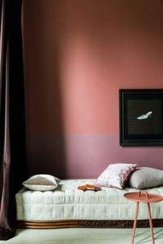 Two Color Wall Ideas: Choosing two rich hues that are in the same color family eliminates the stark line that usually appears when you pair a bold hue with white. Opting for two like-minded shades creates visual interest without tons of contrast.