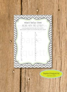 INSTANT UPLOAD Baby Shower Game Chevron Green & by PaperEtiquette