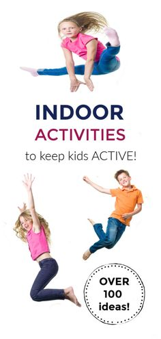 When its too wet outside- lots of activities for kids to do inside. Over 100 activities to keep kids moving! Lots of indoor ideas! Physical Activities For Kids, Indoor Activities For Toddlers, Primary Activities, Movement Activities, Preschool Activities, Fitness Games For Kids, Exercise For Kids, Kids Fitness, Kids Moves