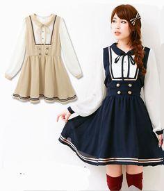 Blue/beige Womens kawaii Sweet Dress Lolita Navy ONE-PIECE School Uniform #Unbranded #AsymmetricalHem #Casual