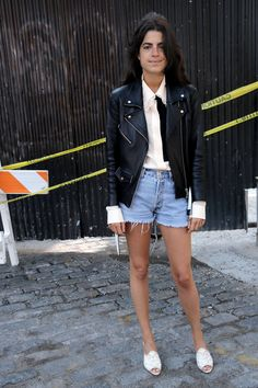 Office Apropos: Summer 2015 - Man Repeller in the VEDA Jayne leather jacket Short Jeans, Short Shorts, Kylie, Classic Leather Jacket, Luanna Perez, Fashion Gone Rouge, Gala Gonzalez, Leandra Medine, Man Repeller