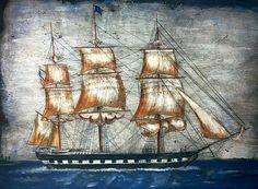 ANTIQUE MARTIME NATICAL FOLK ART - WHALING SHIP - CHARLES MORGAN 1920.