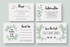 Eucalyptus Wedding Invitation Suite by Knotted Design on Creative Market