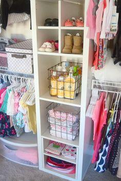DIY Nursery Closet Organization - All About Baby Nursery Closet, Nursery Twins, Nursery Ideas, Project Nursery, Nursery Room, Bedroom, Baby Closets, Bee Nursery, Nursery Inspiration