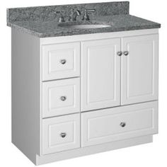 Simplicity by Strasser Ultraline 36 in. W x 21 in. D x 34.5 in. H Vanity Cabinet Only with Left Drawers in Satin White-01.300.2 - The Home Depot