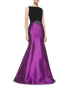 Sleeveless Beaded-Waist Mermaid Gown by Theia at Neiman Marcus.
