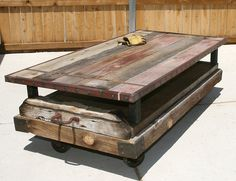 80 Year old bawood/cart table. Table top come off. super heavy duty.@MICANOHOME.COM