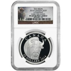 2014 Canada Silver Bison Portrait 1oz PF69 UC ER NGC Bison Label with OGP