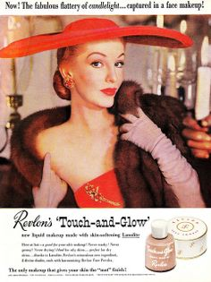 Oh how I want that massively wide brimmed tomato red hat! #1950s #hat #glamour #Revlon #vintage #ad #makeup #cosmetics