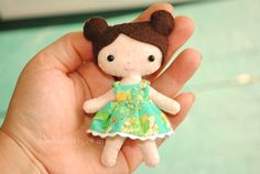 Anna Mini Doll - a printable tiny doll sewing pattern. Create your own tiny 4 inch mini doll with adorable tiny dress.