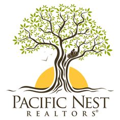 Pacific Nest Realtor´s logo design. Wonderful tree design with a nest. Earthly and trustworthy real estate logo.