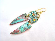Boho Dangle Earrings Altered Metal and Polymer Clay by Janet Wilson of ChickieGirlCreations on Etsy