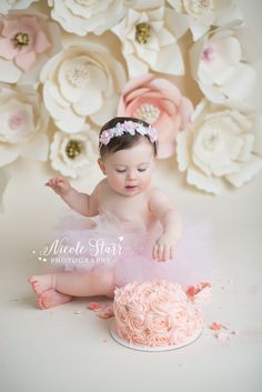 DIY paper flower backdrop for a whimsical floral flower cake smash with Nicole Starr Photography