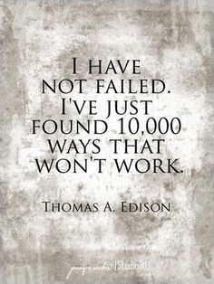 I have not failed, I've just found 10,000 ways that won't work