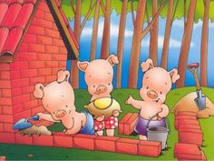 Os três porquinhos   história Piggly Wiggly, Three Little Pigs, Conte, Storytelling, 3 D, Fairy Tales, Mickey Mouse, Wonderland, Clip Art