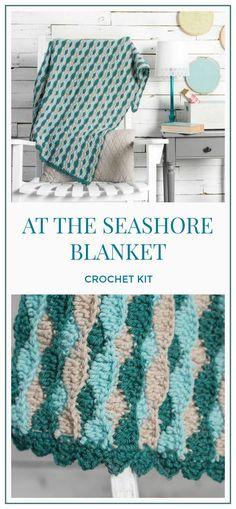 At the Seashore Afghan Crochet Kit, Crochet seashore blanket pattern, crochet blanket pattern, crochet pattern, crochet baby blanket, nautical gift, beach lovers gift #crochet #crocheting #crochetpattern #ad #pattern #blanket #afghan