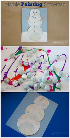 Easy Craft for Kids - Marble Painting Snowman