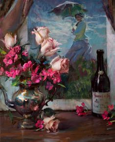 Daniel F. Gerhartz - Roses and Camille Romantic Paintings, Beautiful Paintings, Foto Still Life, Flowers In Vase Painting, Pictures To Paint, Painting Pictures, Fantastic Art, Fine Art Gallery, Art Oil