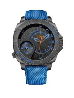 Hugo Boss Large Diver Multi Eye Black Ip Case With Blue Kevlar Strap Mens Watch | littlewoods.com