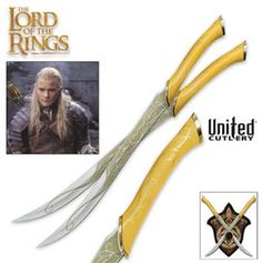 "Fighting Knives of Legolas  Only: $179.99 Legolas Fighting Knives, these officially licensed Lord of the Rings Trilogy  are the fighting knives wielded by Legolas. These knives offer 15 3/4"" stainless steel blades with gold tone color and full tang construction. The gold and tan solid American oak handles offer Elven vine design and cast metal guard and pommel. This item includes a 12 5/8"" x 15 11/16"" x 3/4"" wood plaque adorned with Legolas family badge and a certificate of authenticity."