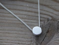 Sterling Silver Small Dot Necklace. Silver dainty by MonyArt
