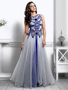 Grey And Blue Net With Santone Inner Wedding Gown (Free Size)