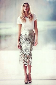 Silver cutout skirt + tshirt tucked in