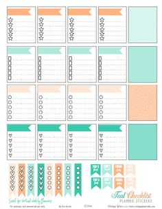 Free Teal & Cantaloupe Checklist Stickers | Printable Download of Planner Stickers suitable for Erin Condren and other Vertical Weekly Planners.
