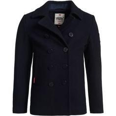 Superdry Rookie Peacoat (3,205 PHP) ❤ liked on Polyvore featuring men's fashion, men's clothing, men's outerwear, men's coats, men coats and jackets, mens hooded wool coat, mens hooded coats, mens hooded pea coat, mens pea coat jacket and mens wool coats