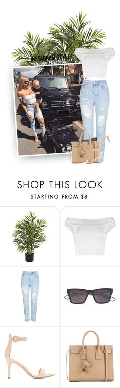 """Insta Ready: Mom Style"" by hollowpoint-smile ❤ liked on Polyvore featuring Nearly Natural, Boohoo, Topshop, Dita, Gianvito Rossi and Yves Saint Laurent"
