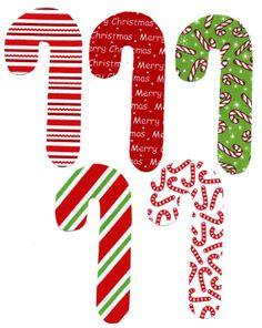 Candy canes fabric iron on appliques DIY by patternoldies on Etsy, $4.00