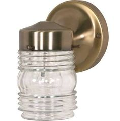 Nuvo Lighting Single Light Porch Light With Clear Glass Mason Jar Shad  Antique Brass Outdoor Lighting Wall Sconces Outdoor Wall Sconces