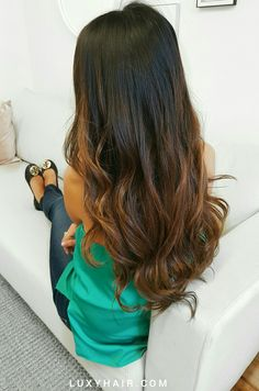 160g Clip-in Ombre Chestnut Luxy Hair extensions. Such a gorgeous and natural blend! Click to get your own Ombre Luxies.