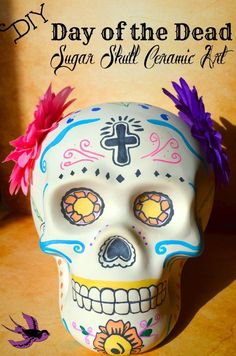 Ceramic skulls are SO cheap during Halloween and this gorgeous Day of the Dead Sugar Skull art is such a fun way for kids to extend cultural lessons and decorate!