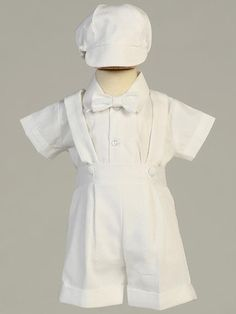 Boys Christening Outfits Traditional Cotton Suspendered Shorts Marcus